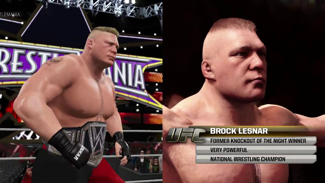 WWE 2K15 EA Sports UFC Graphics Comparison Brock Lesnar